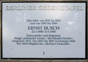 Gedenken an Ernst Busch @ Künstlerkolonie Berlin