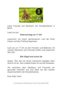 Flashmob in der Künstlerkolonie zu Ostern.... Sei dabei ! @ Künstlerkolonie Berlin