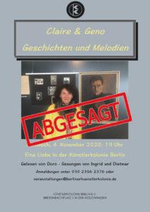 Geno & Claire - Eine Liebe in der Künstlerkolonie @ KulturRaum in der Künstlerkolonie Berlin