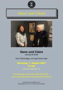 Geno und Claire - Lesung mit Musik @ KunstRaum der Künstlerkolonie Berlin