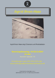 Ingrid Ihnen-Haas singt Chansons und Rockballaden @ KunstRaum der Künstlerkolonie Berlin