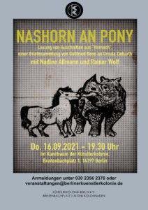 Nashorn an Pony @ KunstRaum der Künstlerkolonie Berlin